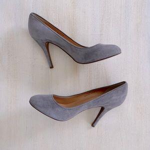 J. Crew leather grey suede round tie pumps heels 9